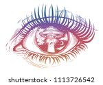 all seeing eye with fantastic... | Shutterstock .eps vector #1113726542