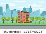 city with three story cartoon...   Shutterstock . vector #1113740225