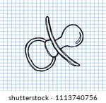 pacifier doodle icon on... | Shutterstock .eps vector #1113740756