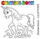 coloring book unicorn theme 1   ... | Shutterstock .eps vector #111375395