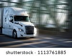 white big rig semi truck with... | Shutterstock . vector #1113761885