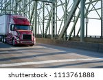 red big rig powerful long haul... | Shutterstock . vector #1113761888