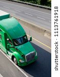 green big rig american long... | Shutterstock . vector #1113761918