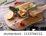 grilled dorado fish stuffed...   Shutterstock . vector #1113766112