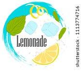 pattern lemonade  carbonated... | Shutterstock .eps vector #1113774716