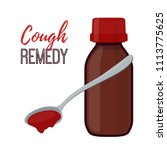 bottle with cough remedy ... | Shutterstock . vector #1113775625