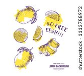 fresh lemon fruits. yellow...   Shutterstock .eps vector #1113788972