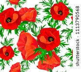 red poppies green leaves on a... | Shutterstock .eps vector #1113790568
