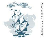 sail ship drawn in engraving... | Shutterstock .eps vector #1113795905
