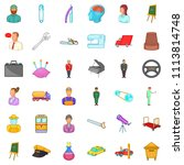 interview icons set. cartoon... | Shutterstock . vector #1113814748