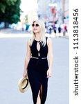 a beautiful blonde young girl... | Shutterstock . vector #1113818456