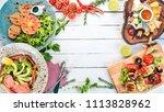 a set of food. tartar  cheese ... | Shutterstock . vector #1113828962