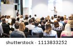 speaker giving a talk in... | Shutterstock . vector #1113833252