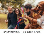 group of young people enjoying... | Shutterstock . vector #1113844706
