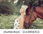 beautiful sexy woman rider... | Shutterstock . vector #1113846512