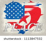 american north korea peace... | Shutterstock . vector #1113847532