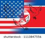 united states north korea peace ... | Shutterstock . vector #1113847556