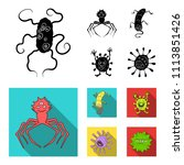 different types of microbes and ... | Shutterstock .eps vector #1113851426