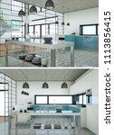two views of modern kitchen... | Shutterstock . vector #1113856415