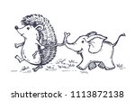 hand drawn doodle animals  ... | Shutterstock .eps vector #1113872138