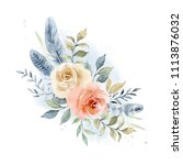 painted watercolor composition. ... | Shutterstock . vector #1113876032