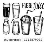 set of glasses for drink. hand... | Shutterstock .eps vector #1113879032