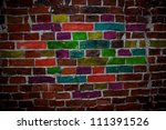 brick wall painted in different ... | Shutterstock . vector #111391526