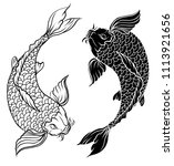 hand drawn outline koi fish and ... | Shutterstock .eps vector #1113921656