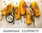 grilled sweet corn with smoked... | Shutterstock . vector #1113928175