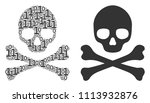 death skull mosaic icon of zero ... | Shutterstock .eps vector #1113932876