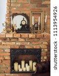 beautiful antique  fireplace... | Shutterstock . vector #1113954926