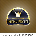 gold shiny emblem with crown... | Shutterstock .eps vector #1113955886
