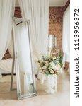 vintage elegant mirror in the... | Shutterstock . vector #1113956372