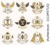 collection of heraldic... | Shutterstock . vector #1113957152