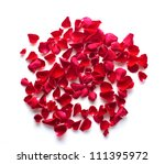 Stock photo red rose petals on white background 111395972