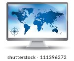 world map on the monitor | Shutterstock .eps vector #111396272