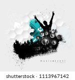 crowd with raised hands at... | Shutterstock .eps vector #1113967142