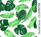 vector monstera and palm leaves.... | Shutterstock .eps vector #1113980708