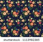vintage floral background.... | Shutterstock .eps vector #1113982385