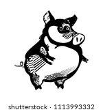 funny pig cartoon character | Shutterstock .eps vector #1113993332