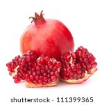 ripe pomegranate fruit isolated ... | Shutterstock . vector #111399365