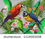 vector painting with tropical... | Shutterstock .eps vector #1114002038