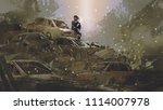post apocalyptic scene showing...   Shutterstock . vector #1114007978