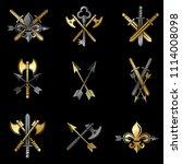 vintage weapon emblems set.... | Shutterstock . vector #1114008098