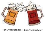 light and dark beer mugs or... | Shutterstock .eps vector #1114021322