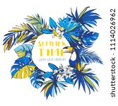 illustration tropical floral... | Shutterstock . vector #1114026962