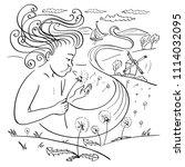 a wind like a boy blows on a... | Shutterstock .eps vector #1114032095