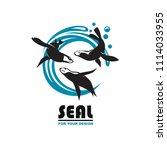 emblem of sea seal silhouette... | Shutterstock .eps vector #1114033955