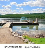 mooring boat on the lake in the ... | Shutterstock . vector #111403688