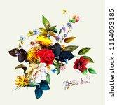 vintage bouquet of dandelion... | Shutterstock .eps vector #1114053185